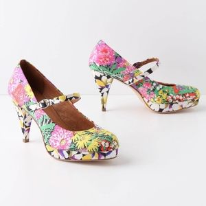 Anthropologie Miss Albright Floral Mary Jane Pump